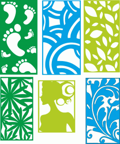 Set Six Decorative Seamless Panel Free CDR File