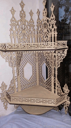 Shelf For Icons Christian Home Altar Carved Shelf Template Laser Cut CDR File