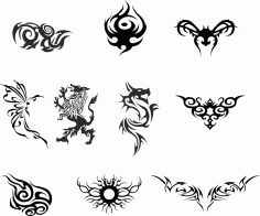 Silhouette Dragon Tattoo Vector Set free CDR Vectors File