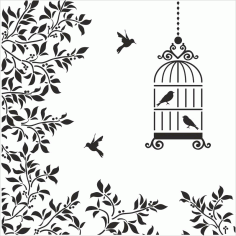 Silhouettes Birds Cage Flowers Illustration Laser Cut CDR File