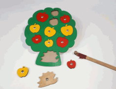 Simple Apple Peg Puzzle Wooden Toy For Preschool Early Learning Laser Cut CDR File