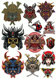 Skull Samurai Vectors Set Download Free Vector CDR File