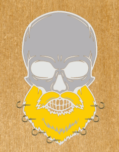 Skull with Beard Wall Hanger Free CDR File