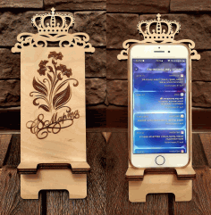 Smart Phone Stand Template With Crown and Engraving Laser Cut CDR File