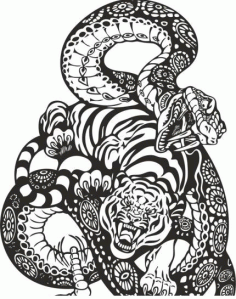 Snake and Tiger Fight Free CDR Vectors File