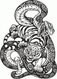 Snake And Tiger Fight Vector Art CDR File