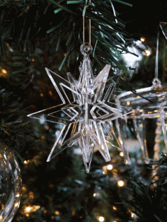 Snowflake Christmas Tree Ornament Laser Cut CDR File