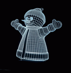 Snowman Decor 3D Acrylic Lamp Laser Cut CDR File