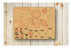 Solar System Puzzle For Kids Laser Cut CDR File