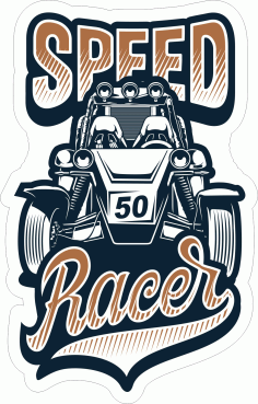 Speed Racer Sticker Free CDR Vectors File