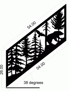 Staircase Panel Bear Eagle Art Laser Cut DXF File