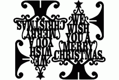 Stand Merry Christmas Wish Laser Cut DXF File