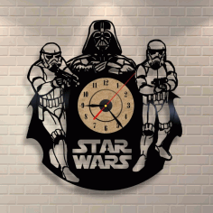 Star Wars Darth Vader Wall Clock and Storm Troopers Free CDR Vectors File
