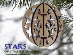 Stars Christmas Tree Ball Ornament CNC Laser Cut Vector DXF File