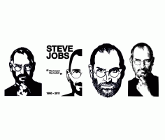 Steve Jobs Sticker Stencil Line Art CDR File