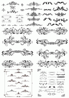 Swirl Floral Borders and Ornaments Free CDR Vectors File