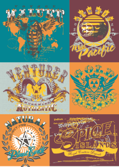 T-Shirt Labels Illustrations Free CDR File