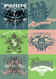 T-Shirt Print Design Vector Set Free CDR File