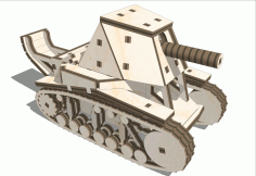 Tank SU-18 Wooden 3D Puzzle Laser Cut Free CDR File