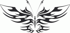 Tattoo Tribal Butterfly Vector Art Free DXF Vectors File