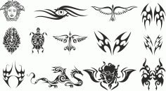 Tattoo Tribal Free Dxf File For Laser Cutting DXF File