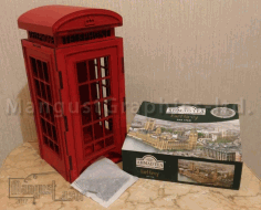 Tea Bags Holder London Phone Booth Laser Cut CDR File