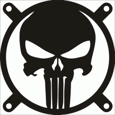 The Punisher Fangrill 120mm X 120mm Laser Cut CDR File