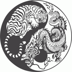 Tiger Dragon Yin Yang Vector Art free CDR Vectors File
