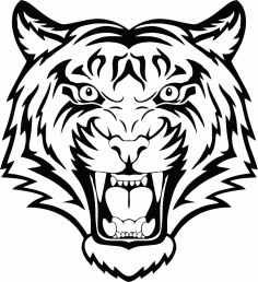 Tiger Head Vector Laser Cut CDR File