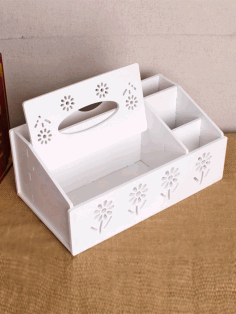 Tissue Box with Organizer Laser Cut Free CDR File