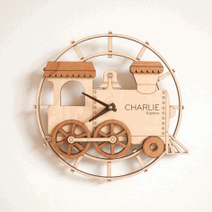 Train Shape Wall Clock Laser Cut Template CDR Vectors File