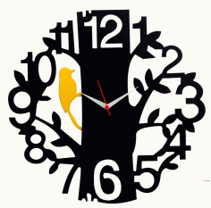 Tree Bird Black Wood Wall Clock Free CDR Vectors File