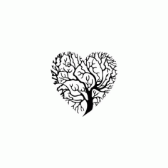 Tree Heart Silhouette DXF File