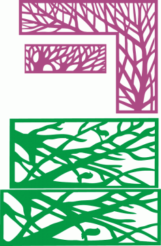 Tree in frame decorative partition pattern CNC Laser Cut Free CDR File