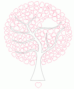 Tree of Hearts for Laser Cut DXF File