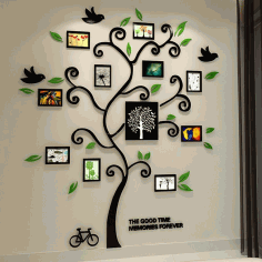 Tree of Life Black 3D Wall Decal Free CDR File