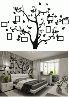 Room Wall Tree Photo Frame CNC Laser Cut Free CDR File