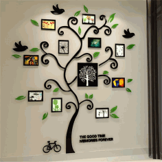 Tree Photo Frame Laser Cut DXF Vectors File