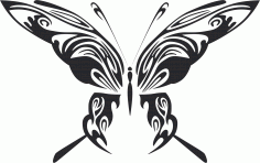 Tribal Butterfly Vector Art Design Free DXF Vectors File