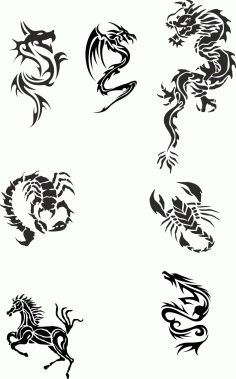 Tribal Dragon Tattoo Designs Vector Pack free CDR Vectors File