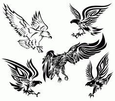 Tribal Eagle Vectors Set Free Download CDR File