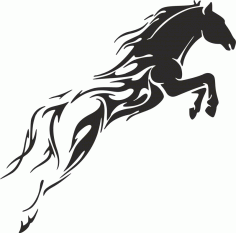 Tribal Horse Unique Tattoo for Men Laser Cutting DXF File