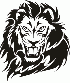 Tribal Lion Tattoo Design vector DXF File