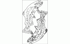 Trout Fish Silhouette CNC Router Free DXF File