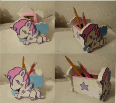 Unicorn Desk Organizer Pencil Stand Laser Cut DXF File