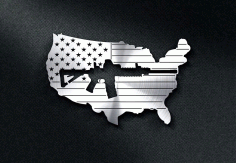 Us Flag With A Gun Cut Out Design DXF File