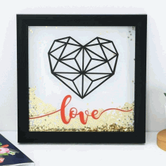 Valentine Day Gift Heart Wall Art Laser Cut CNC Template CDR File