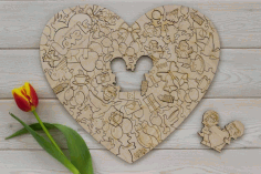 Valentines Day Gift Heart Laser Cut Design CDR File