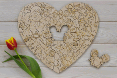 Valentines Day Jigsaw Puzzle Engraving Laser Cut CDR File