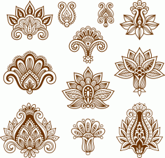 Vector Handdrawn Abstract Henna Mehndi Paisley Free CDR Vectors File